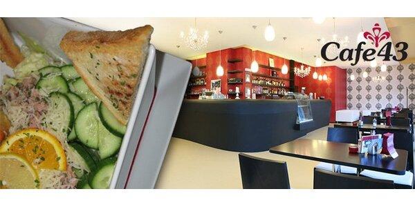 133 Kč za lehké menu Cafe 43 pro DVA v hodnotě 236 Kč. Sleva 43%.