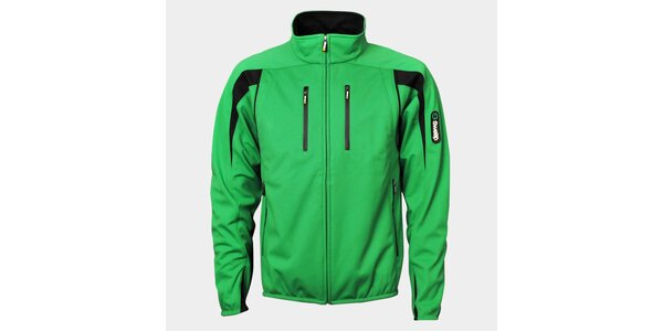 Pánská světle zelená softshellová bunda Sweep s černými detaily