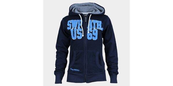 Dámská indigově modrá mikina Sweep s kapucí a zipem
