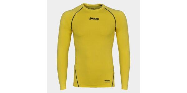 Pánské žluté kompresní tričko Sweep s dlouhým rukávem