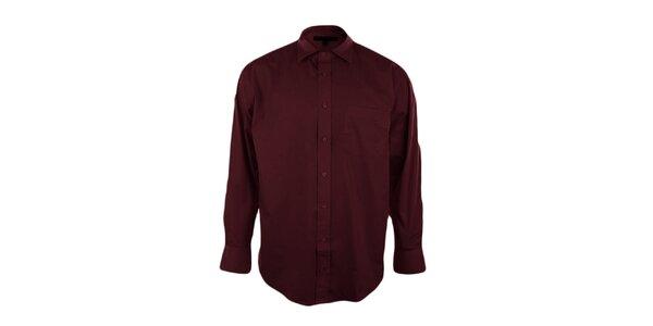 Pánská vínová košile se špičatým límečkem Perry Ellis