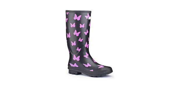 Dámské černé holínky Splash by Wedge Welly s růžovými motýly