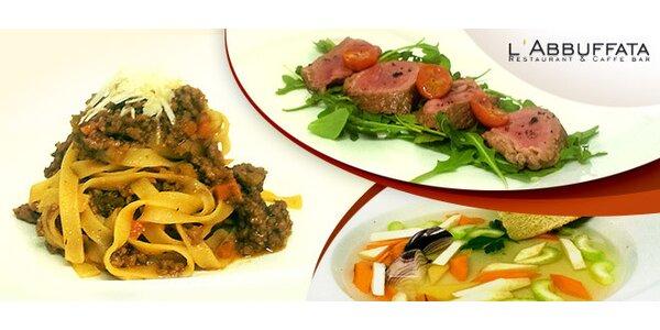 Degustační tříchodové menu pro dva v l'Abbuffata