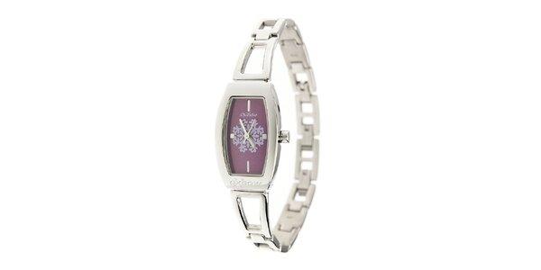 Dámské ocelové hodinky Oxbow s fialovým ciferníkem