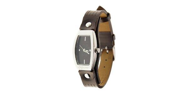 Dámské ocelové hodinky Oxbow s tmavě hnědým koženým řemínkem