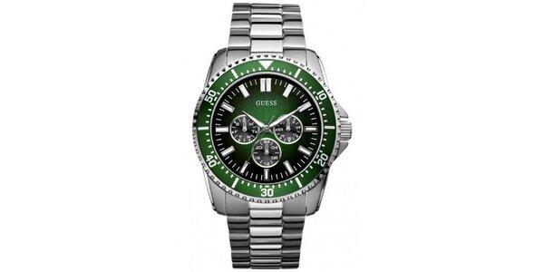 Pánské ocelové hodinky se zeleným ciferníkem Guess