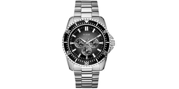Pánské ocelové hodinky s černým cifeníkem Guess