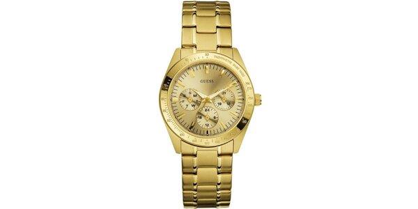 Dámské pozlacené analogové hodinky Guess