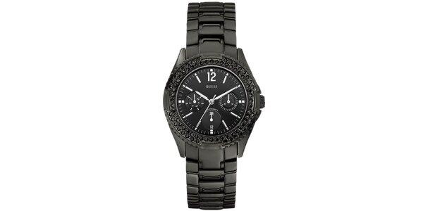 Dámské hranaté černé hodinky s kamínky Guess