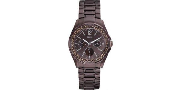 Dámské hranaté hnědé hodinky s kamínky Guess