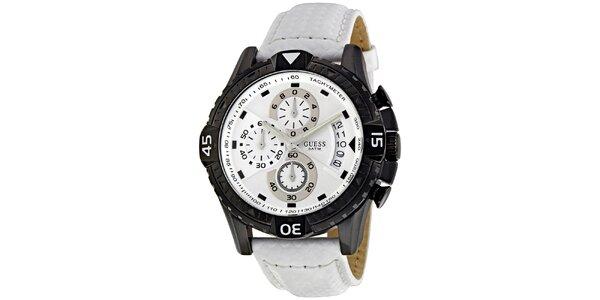 Pánské černobílé hodinky Guess
