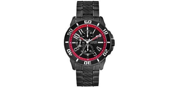 Pánské černé hodinky s červenými detaily Guess