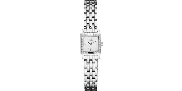 Dámské hranaté stříbrné hodinky s kamínky Guess
