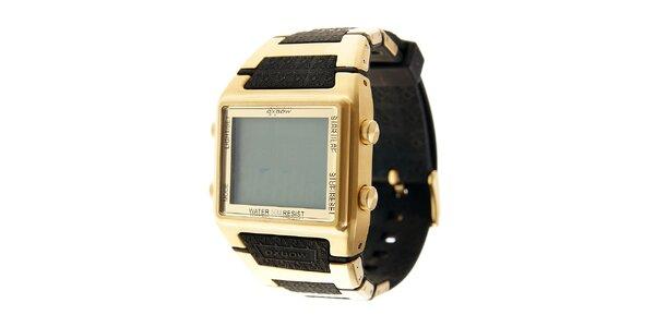 Zlaté digitální retro hodinky Oxbow