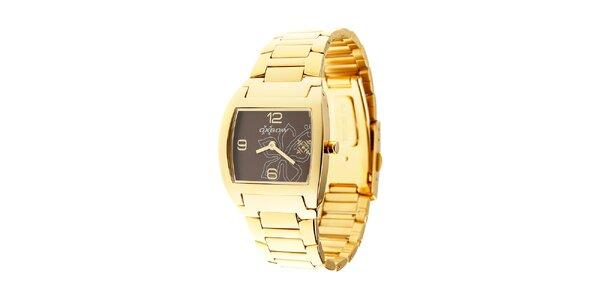 Dámské zlaté hodinky Oxbow s tmavě hnědým ciferníkem