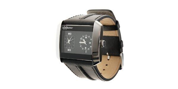 Pánské ocelové hodinky Oxbow s černým koženým řemínkem
