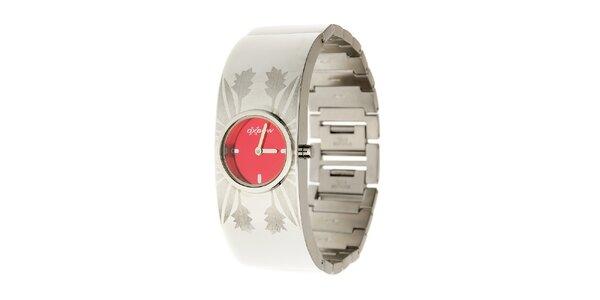 Dámské ocelové hodinky Oxbow s červeným ciferníkem