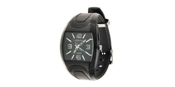 Černé hodinky Oxbow s pryžovým řemínkem