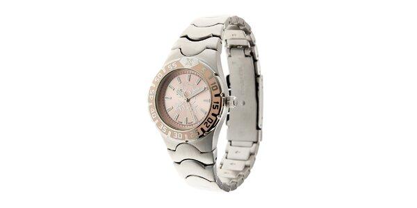 Dámské ocelové hodinky Oxbow s jemně růžovým ciferníkem