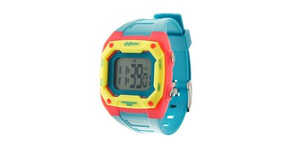 Světle modré digitální hodinky Oxbow