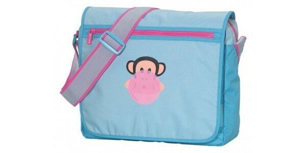 Dámská světle modrá taška Paul Frank messenger s růžovým zipem