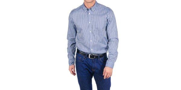 Pánská modrá bavlněná košile s pruhy Hackett London