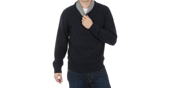 Pánská černá mikina s pruhovaným límcem Hackett London