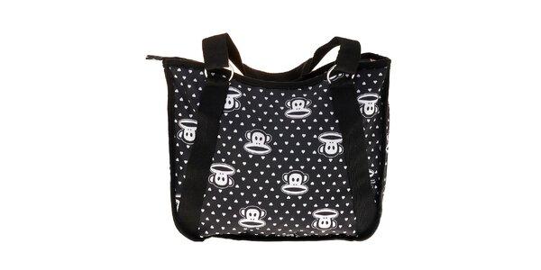 Dámská černá taška Paul Frank s bílým potiskem