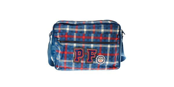 Modrá kostkovaná taška Paul Frank s přihrádkou na notebook