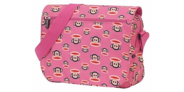 Dámská růžová taška Paul Frank messenger s veselým potiskem