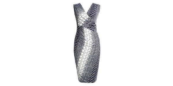Dámské modrokrémové zavinovací šaty JDC London
