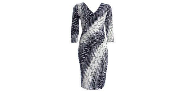Dámské šaty s modrokrémovým vzorem JDC London