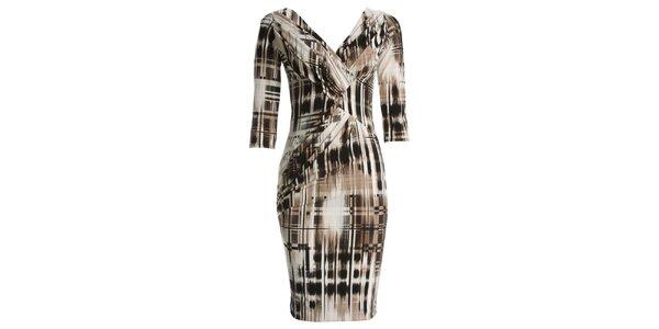 Dámské šaty s béžovočerným potiskem JDC London