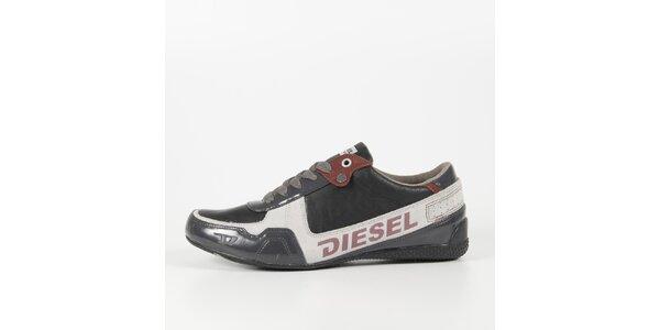 Pánské šedo-bílé tenisky s lakovaným detailem Diesel