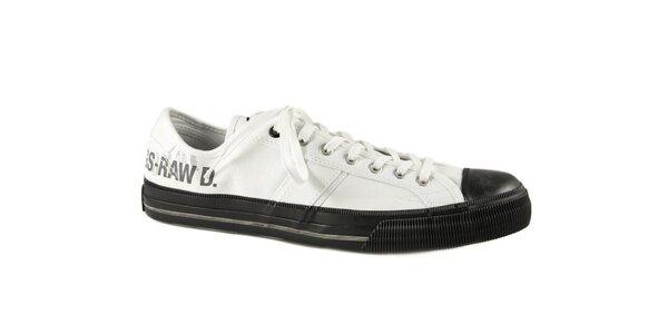 Pánské bílé textilní tenisky G-Star Raw s černou gumou