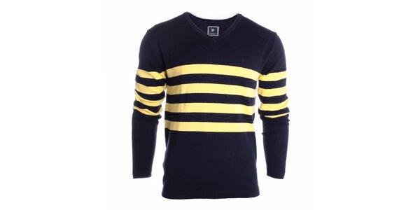 Pánský černý svetr se žlutými pruhy Pietro Filipi