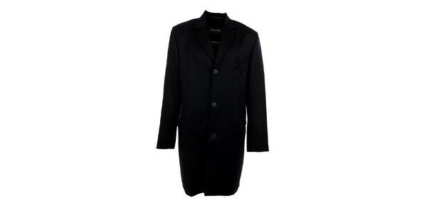 Pánský dlouhý černý kabát s kapsičkou Pietro Filipi