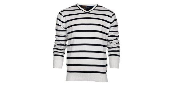 Pánský bílý proužkovaný svetr Tommy Hilfiger