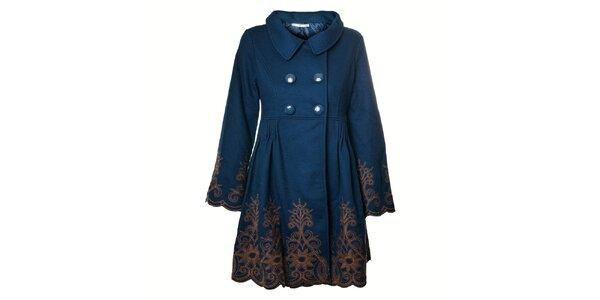 Dámský tyrkysově modrý kabát Uttam Boutique s výšivkou