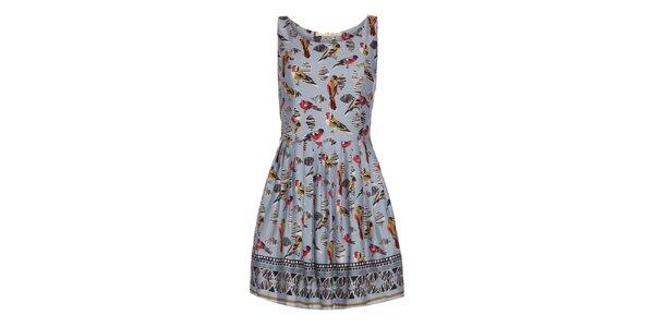 Dámské světle modré šaty s potiskem ptáčků Uttam Boutique