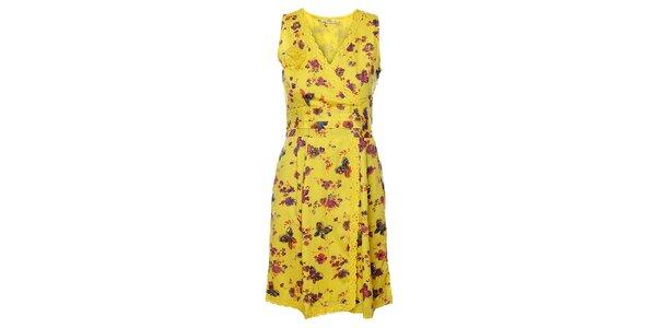 Dámské žluté květinové šaty Uttam Boutique s motýly