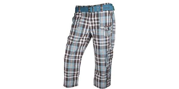Dámské šedo-modré kostkované 3/4 kalhoty Authority