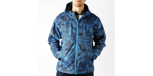 Pánská modrá nepromokavá sportovní bunda Authority s černým potiskem