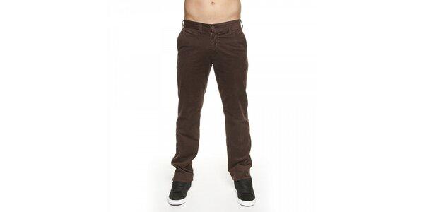 Pánské hnědé manšestrové kalhoty Lois
