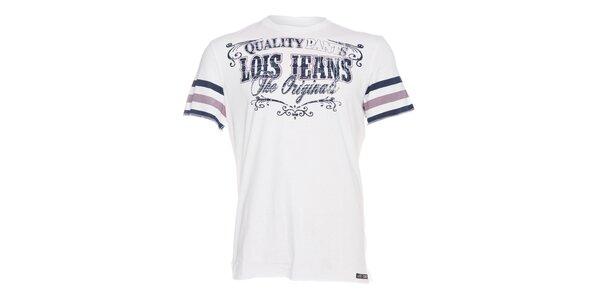 Pánské bílé tričko Lois s tmavě modrým potiskem