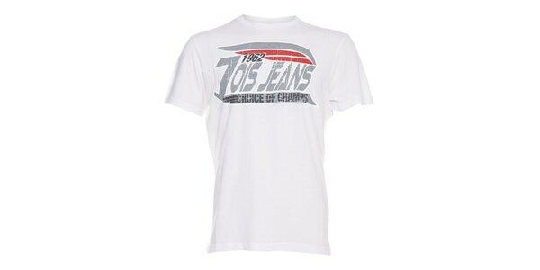 Pánské bílé tričko Lois s šedým vintage potiskem