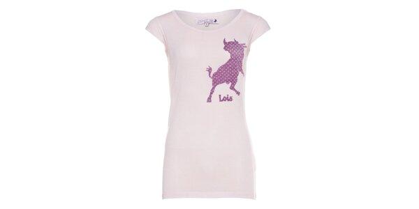 Dámské růžové tričko Lois s potiskem