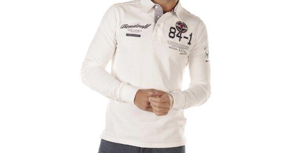 Pánské bílé polo s dlouhými rukávy Bendorff