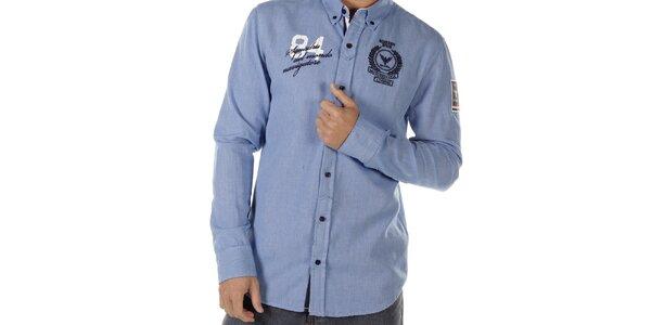 Pánská modrá košile s nášivkami na hrudi Bendorff