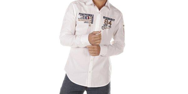 Pánská bílá košile s nášivkami Bendorff